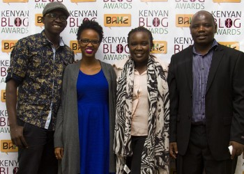 L-R Magunga Williams (Nominee 2014,2015), Rachael Muthoni (winner 2014), Nanjira Sambuli (Research Lead - iHub Research), Kennedy Kachwanya (Chairman, BAKE)